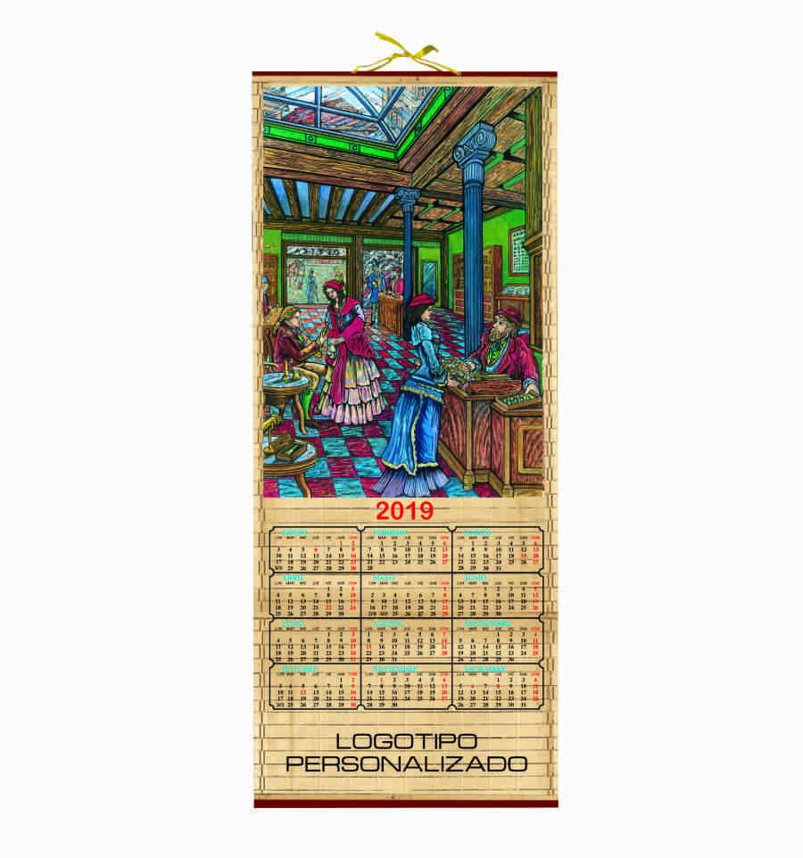 calendario de madera interior